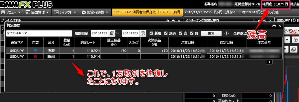 DMM FX約定画面