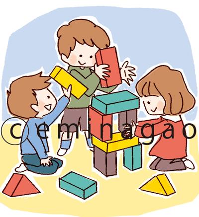 幼稚園で積み木遊びをする子供のイラスト