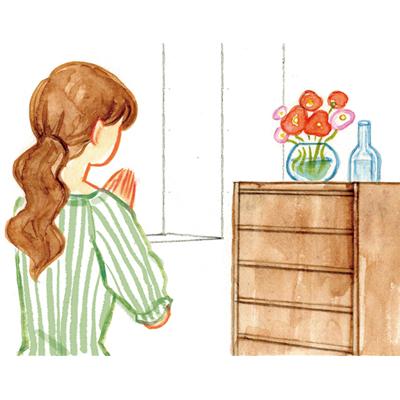女性水彩イラスト