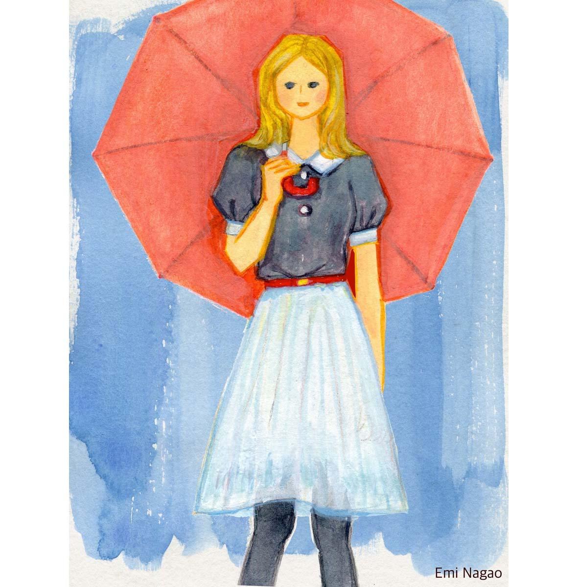 傘水彩の女の子