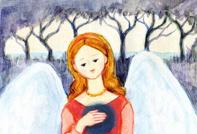 女性の水彩イラスト 天使