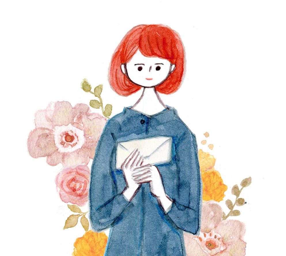 花と女の子 水彩イラストレーター