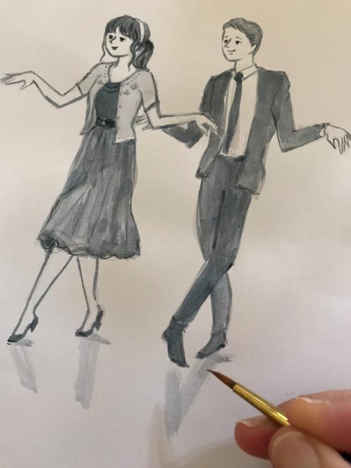 水彩ダンス