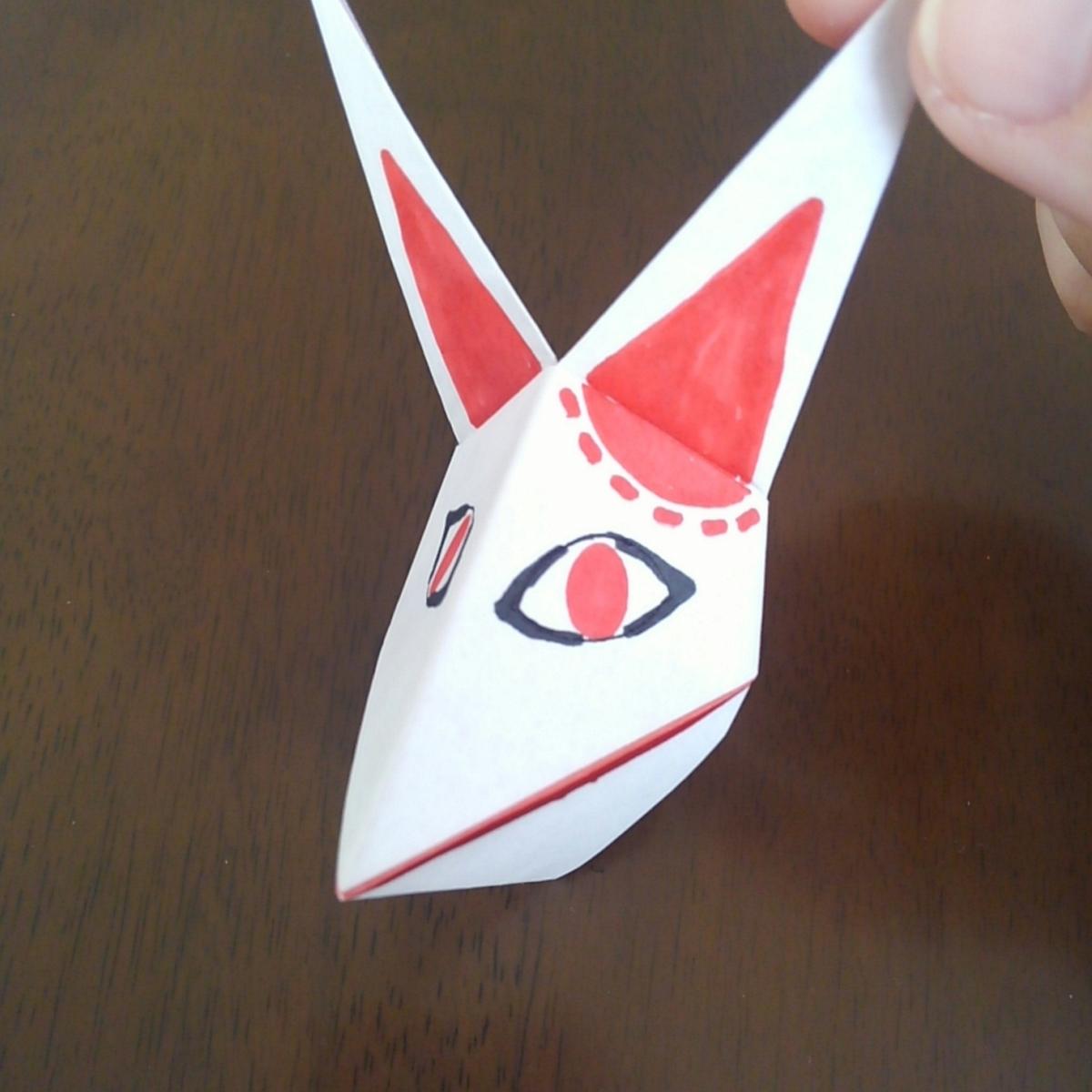 鬼滅の刃 折り紙 狐面 簡単