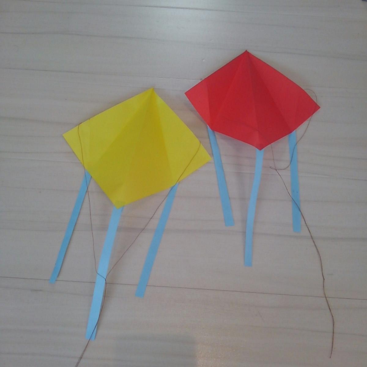 折り紙 手作り凧 0円工作