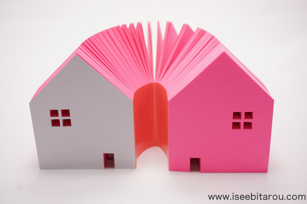 家の形をしたブロックメモ