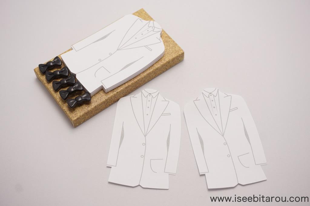 蝶ネクタイ押しピン&タキシードメモのセット