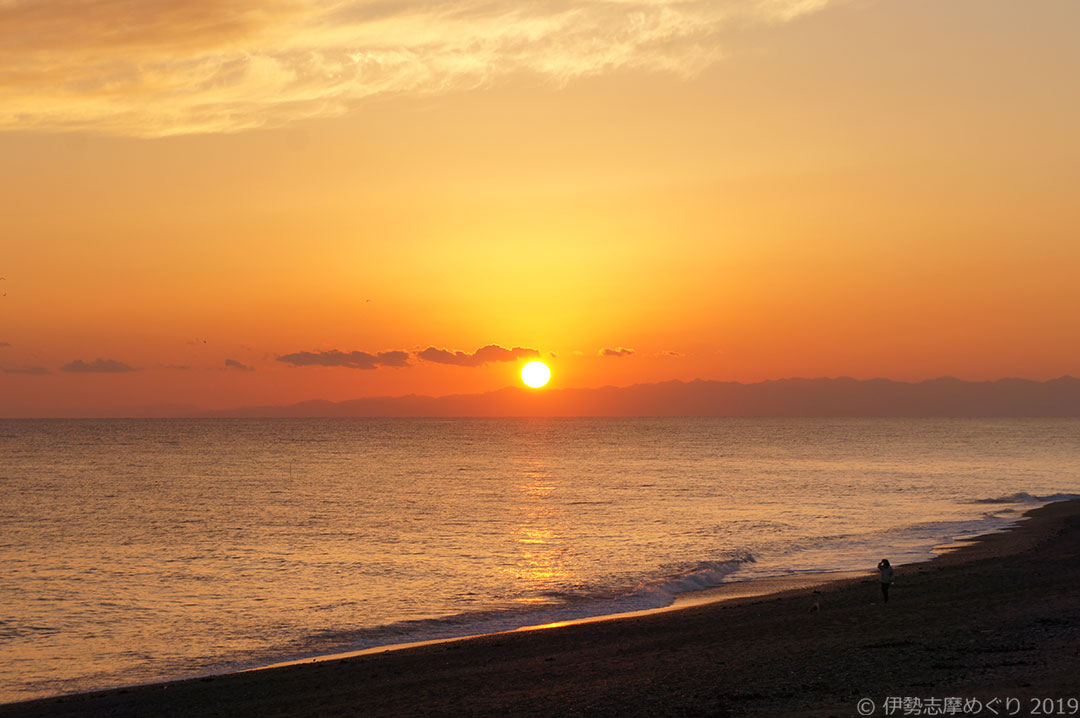 ひろの浜の夕陽