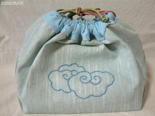 編みかけを入れる袋 A面