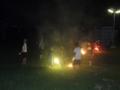 子供達はお参りのあと遊園地で花火