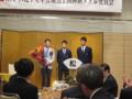 今シーズン活躍した、中村君と藤本君より花束贈呈