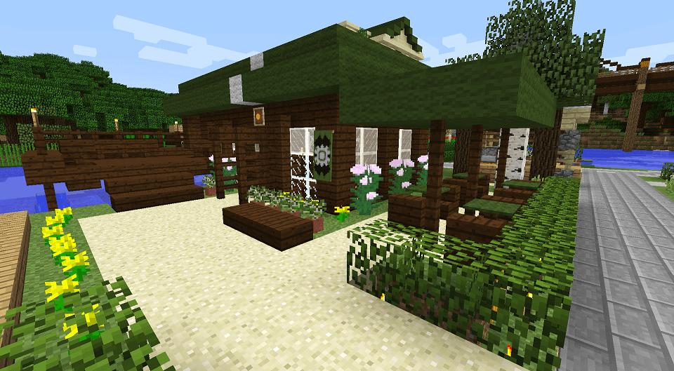 ダークオークと緑を使ったカフェ