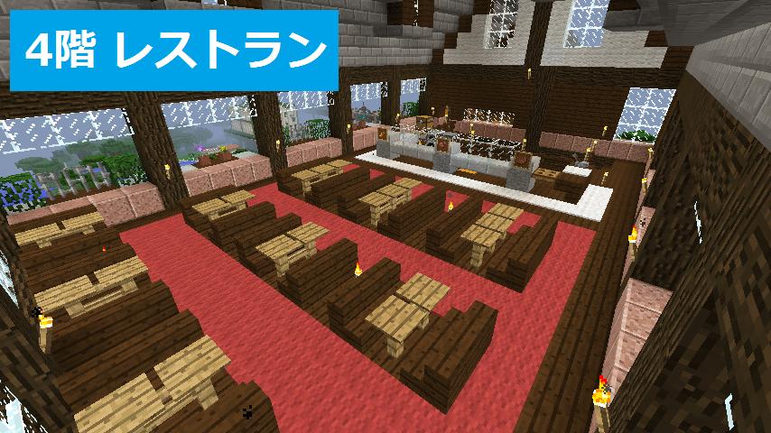たくさんのテーブルが並べられたレストラン