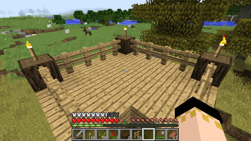原木とフェンスで作った屋上