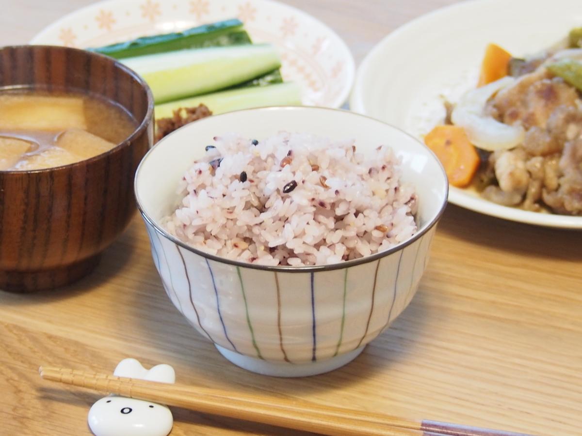 五穀米とみそ汁