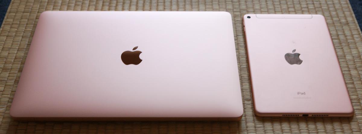 左:MacBook Air Retinaモデル  右:iPad mini 5