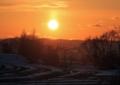 雪解けの夕陽