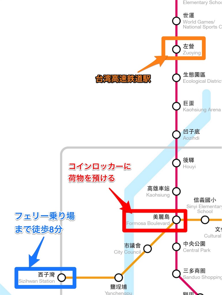 台湾高雄の電車わかりやすい路線図