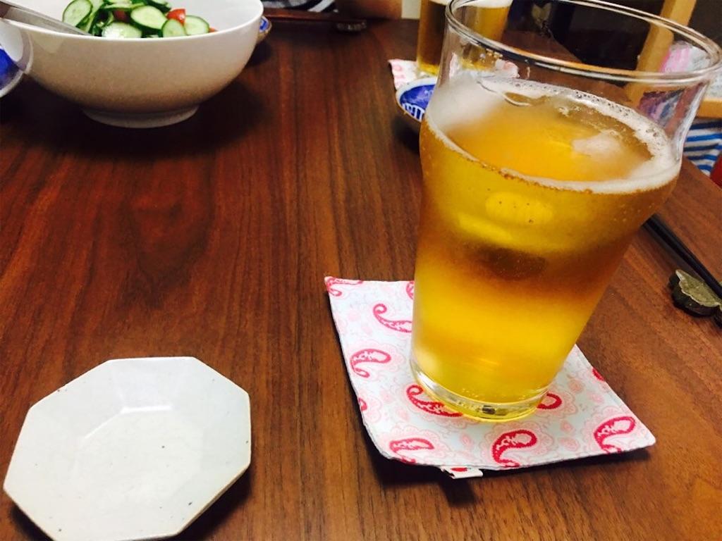 夏の暑い日とりあえずビール