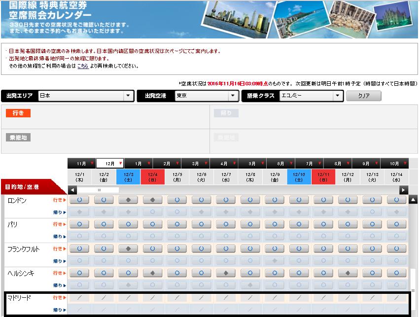 国際線特典航空券の画面