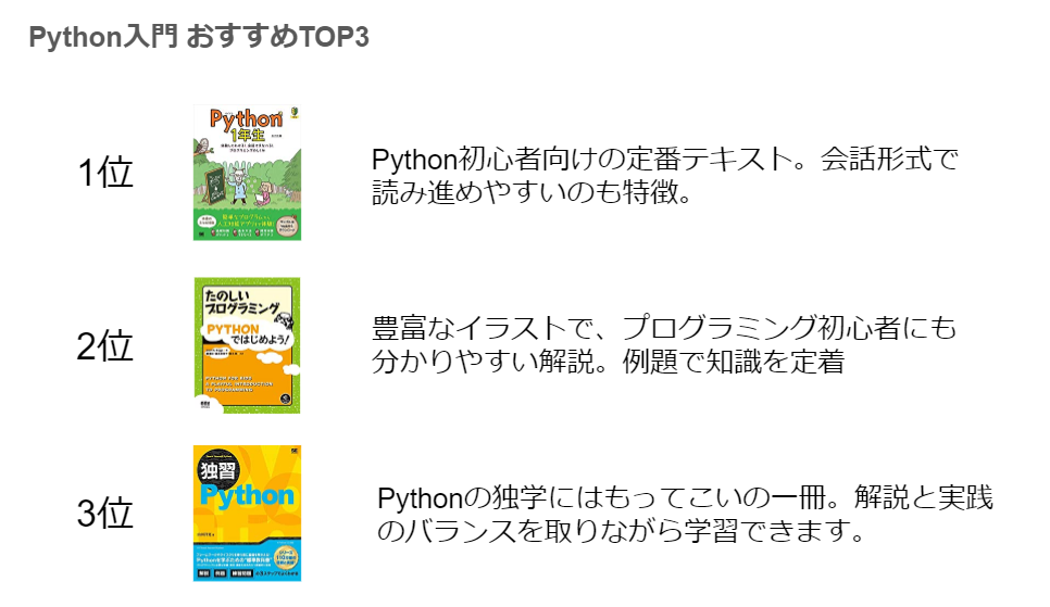 Python 初心者向けおすすめ本 TOP3