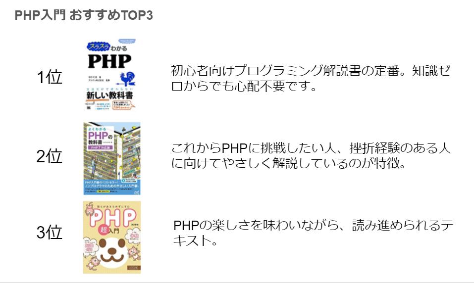 PHP初心者向けおすすめ本・TOP3