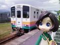 山形鉄道の荒砥駅にて