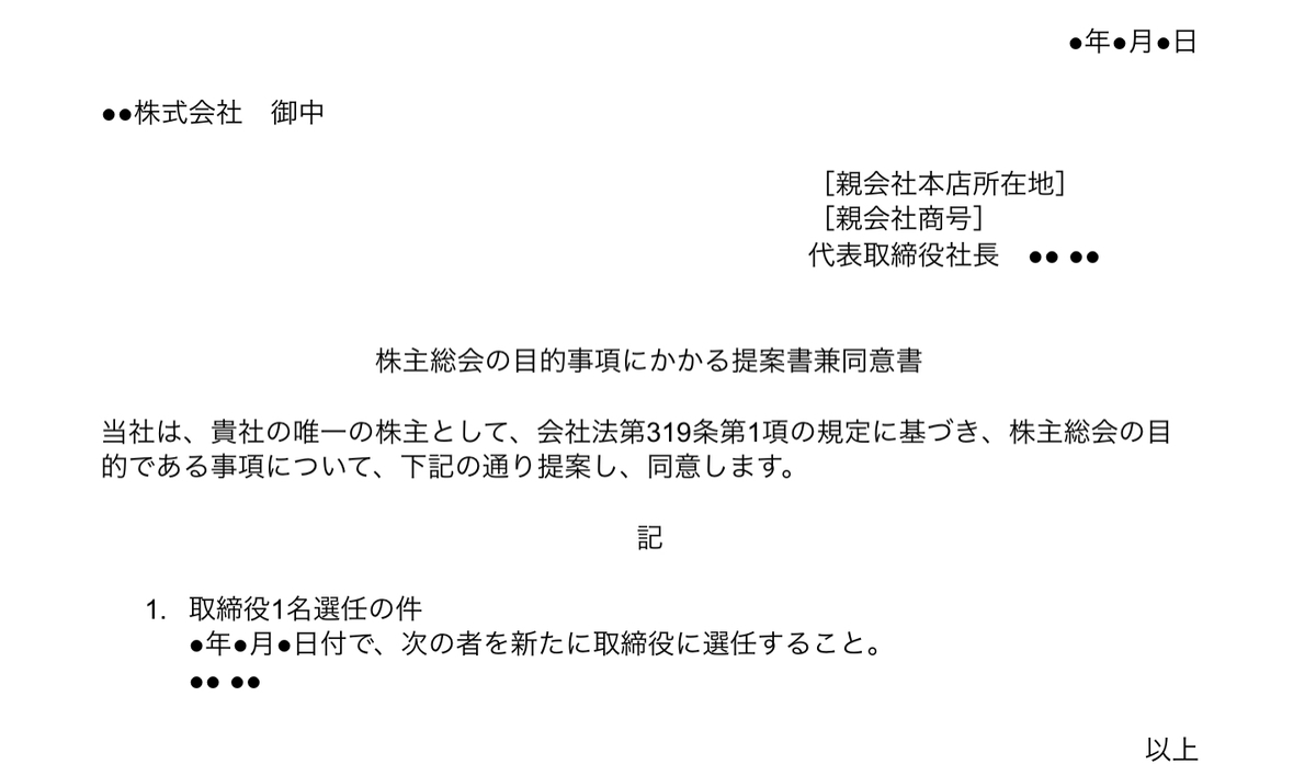 株主総会書面決議の議事録と同意書 - Legal X Design