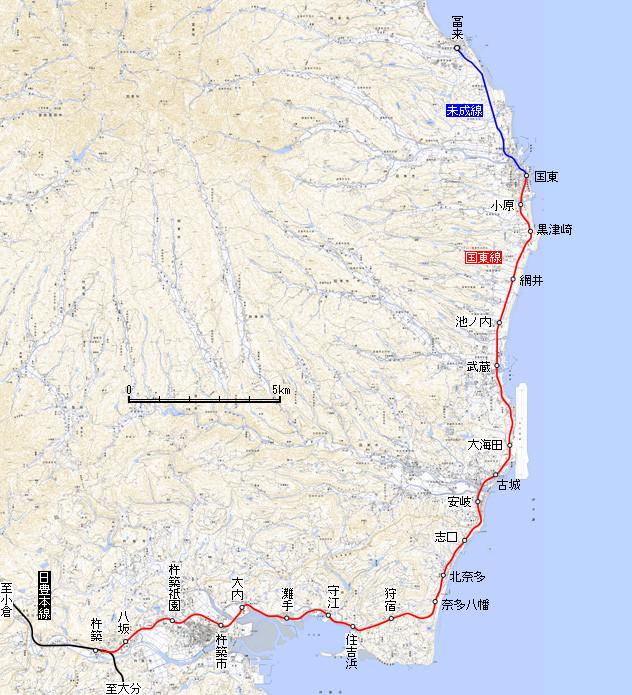 国東鉄道 路線図 (減速進行)