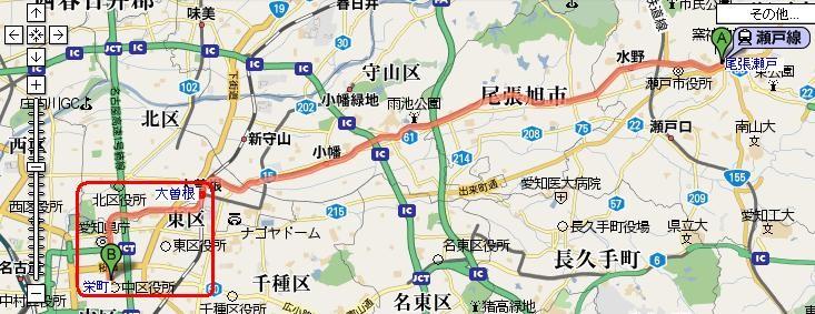 名鉄瀬戸線 栄町のりいれ (あかわくで かこった 部分)