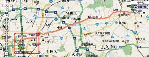 名鉄瀬戸線 栄町のりいれ 路線図 (縮小版)