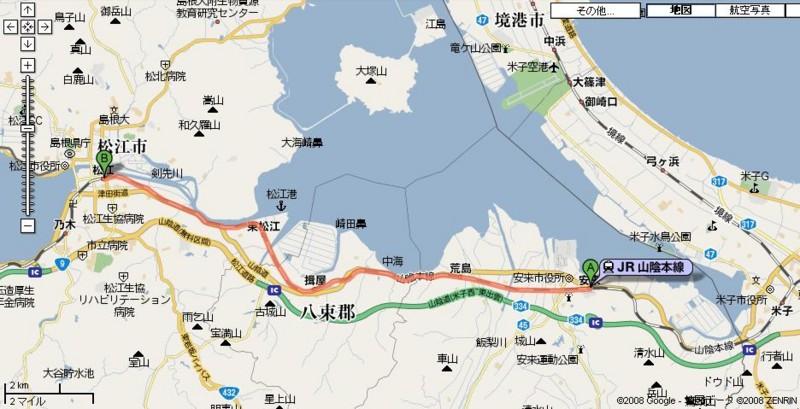 山陰本線 安来(A)−松江(B)間