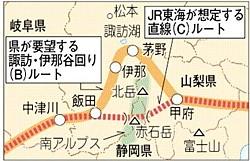 リニア中央新幹線 伊那谷 ルート (Bルート)と みなみ アルプス ルート (Cルート)