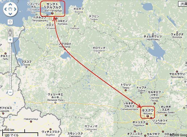 モスクワ-サンクトペテルブルク間の 地図