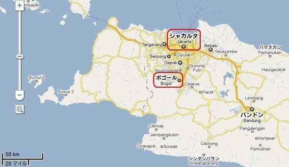 ジャカルタ-ボゴール間 地図