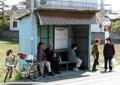 一宮市内の 名鉄バス 大毛バス停の 待合所小屋