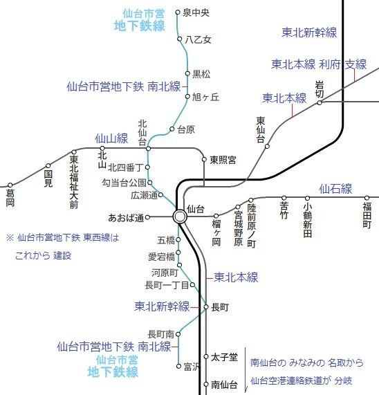 仙台市 鉄道 路線図 548 × 571