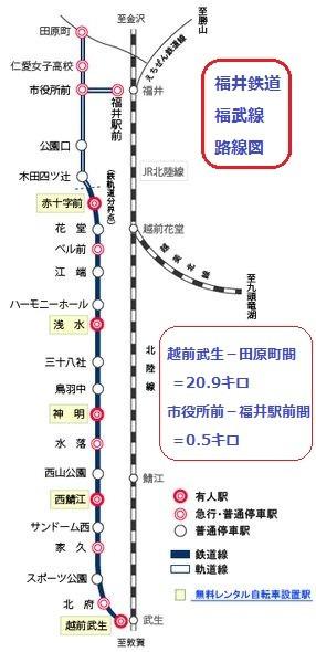福井鉄道 福武線 (ふくぶせん) 路線図