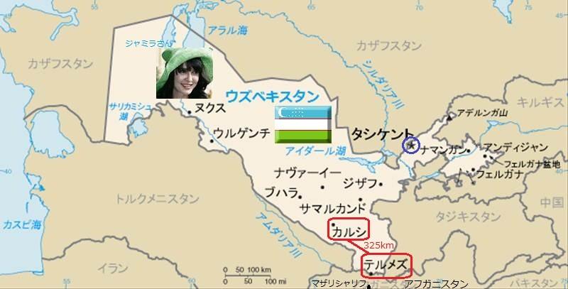 ウズベキスタンの 地図 (カルシ-テルメズ間 325km)