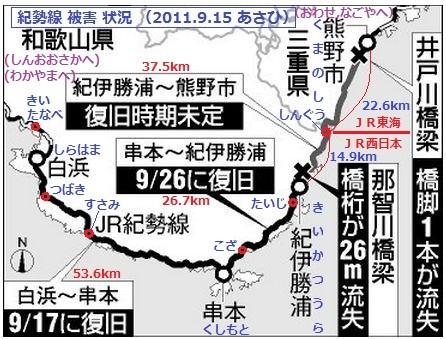 紀勢線 (きせいせん) 被害 状況 (2011.9.15 あさひ) 446-339