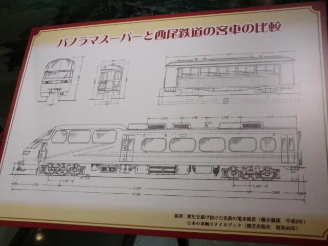 29-111030 軽便 鉄道 西尾鉄道の 客車と パノラマスーパーの 寸法 くらべ