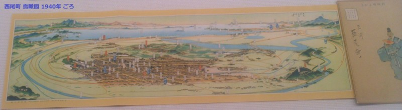 12-111030 「西尾鉄道と岡崎」展 西尾町 鳥瞰図 (1940年 ごろ)