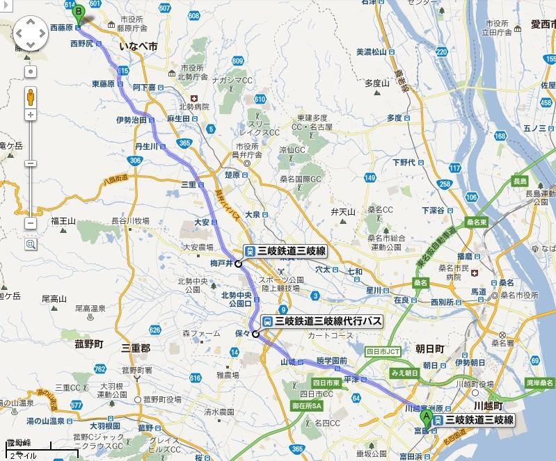 三岐鉄道 三岐線 路線図 (グーグル マップ)