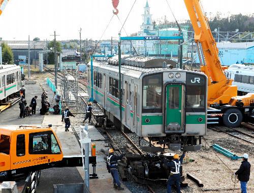原ノ町 運輸区に 搬入された 車両 (あさひ)