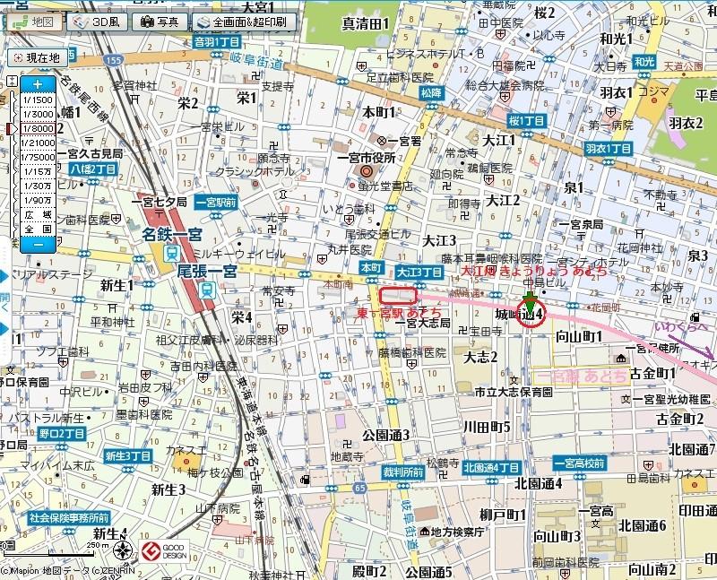 名鉄 一宮線 大江川 きょうりょう あと 位置図 (あきひこ)