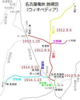 名古屋電鉄 路線図 (ウィキペディア)