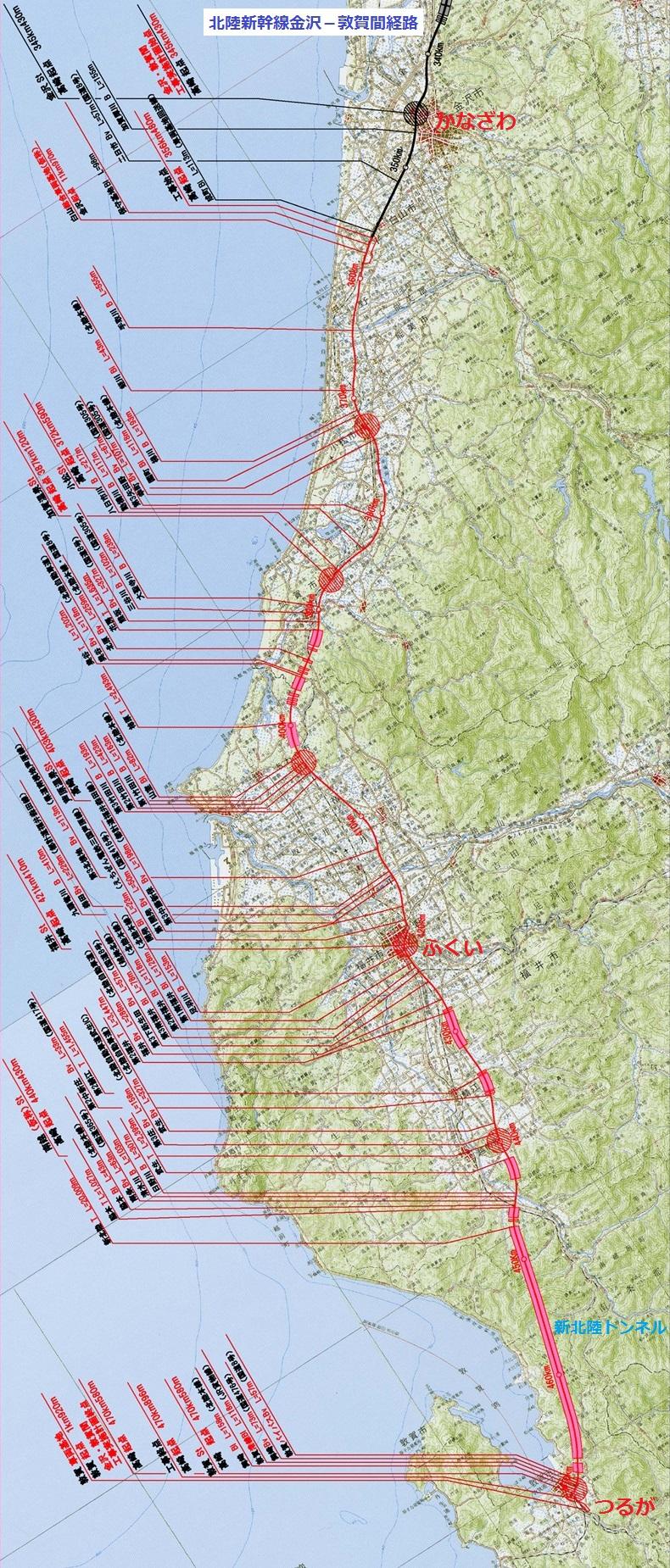 北陸新幹線金沢-敦賀間経路