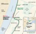 ハドソン川 ハーレム川 合流点 メトロノース鉄道 事故 地図 (WSJ)