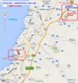 電鉄魚津駅と 黒部宇奈月駅の 関係 地図 (あきひこ)