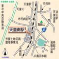 天童南駅 位置図 (山形新聞)